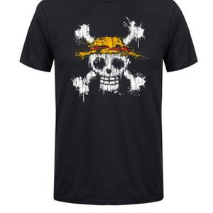 Camiseta de hombre de una pieza Calavera Sombrero de paja Logotipo de la bandera Estampado Algodón Cuello redondo Anime Camiseta de manga corta Camiseta de regalo de calidad masculina