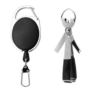 야외 플라이 낚시 도구 집게 물고기 라인 가위 견인기 키 체인 홀더 개폐식 Carabiners 클립 키 체인 낚시 액세서리 HHAA54