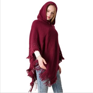 Knitted Large Shawls Knttied Tops Hooded Tassel Blankets Cape Pure Color Hat coat Blankets 11 Style WY170