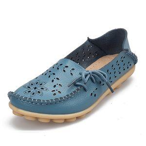 Zapatos planos de las mujeres de la mujer de moda 2019 mocasines de los holgazanes salvaje zapatos de las mujeres ocasionales del cuero genuino clásico de conducción Mujer Calzado