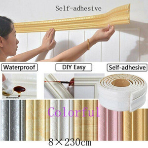 7.5FT 3D Selfadhesive Waterproof Pattern Wallpaper Border Lines Mural Wall DIY Decor Removable Sticker Home Kitchen Pattern PVC Wallpaper