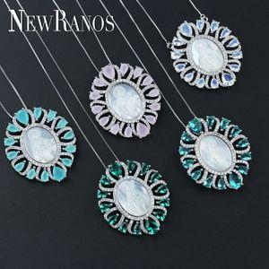 Siete Colores Azul Verde Virgen María Colgante Collar Cubic Zirconia Con Shell Perla Cristal Colgante Collar Para Las Mujeres Pgy001 T190626