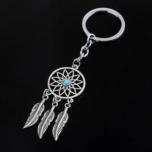 12pcs / lot elegante Rhinestone Dreamcatcher pluma de la borla llavero llaveros para los regalos de bolsos de coches Bolsas Mando hombres de las mujeres Llavero