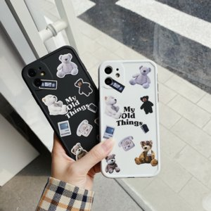Brand Cartoon Mobile Phone Case 11pro max 11Pro  X Xs XR XSMax 7P  7 Popular bear Print New Summer lovely style Iphone case 2 colores select