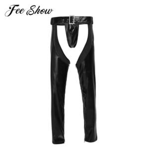 2pcs Gay Mens Lingerie Sexy Fuax Cuir Crotchless Zippered Pantalons Serrés Leggings Extensible Pantalon Creux Avec G-string C19031601