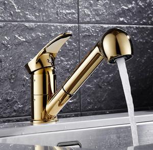Kitchen Sink Faucet Pull Out spruzzatore testa dell'ugello bocca girevole Miscelatore ottone bagno oro di colore Deck Mount singolo foro maniglia