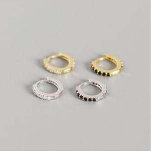 925 Sterling Silver Kids Earring Studs Micro Pave White Black Zircon Small Hoop Earrings Children Jewelry