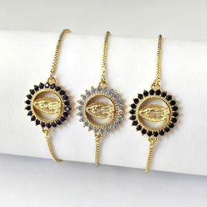Braccialetto connettore zircone cubico lucido zircone lucido di alta qualità per le donne ragazza regalo di gioielli di fascino della Vergine Maria BG310