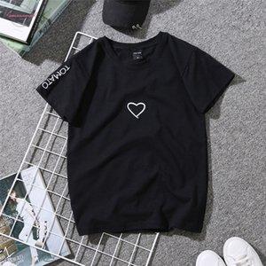 Mulheres Love Letter Cópia do coração camisetas Casais amantes do bordado camisa para a menina Casual confortável Soft White Tops T-shirt