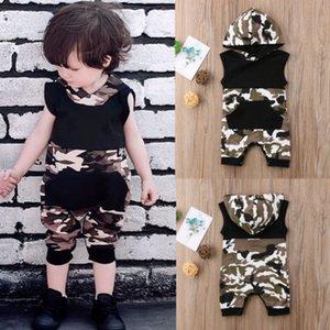 2018 Nouveau Camo Patchwork barboteuses Cute Girl Baby Boy capuche Romper manches Pocket Jumpsuit Combishort enfants Vêtements d'été Tenues