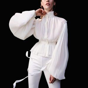 Cocktail designer Chiffon Ruched Mulheres elegantes blusas 2020 Runway Primavera-Verão Estilo Turtleneck lanterna Long Sleeve Túnica partido Shirts