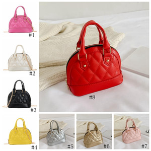 Kids Shell Bag Korean Style PU Embossed Pattern Handbag Baby Toddler Girls Crossbody Mini Chain Shell Bags Purse Children Handbags GGA3406