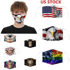 visage design masque masques en coton de luxe drapeau Skull Halloween Party numérique sport cosplay réutilisable poussière chaude coupe-vent masque de fête