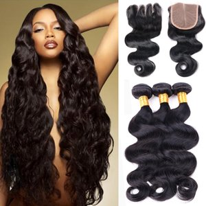 8A Brazilian Virgin Hair Body Wave With Closure 3 4 Bundles Brazilian Body Wave Hair With Lace Closure Wholesale Human Hair Weave Extensions