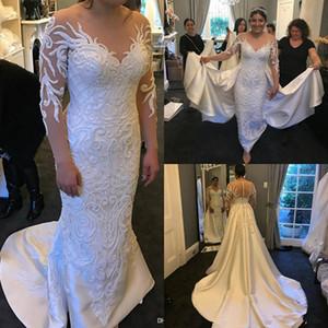 2020 Muhteşem Denizkızı Gelinlik ile Ayrılabilir Tren Dantel Aplike İnci Uzun Kollu Gelinlik Custom Made Elbiseler De mariée 4554