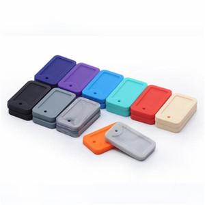 18 Farben Dog Tag Beißring Silikon Zahnen Anhänger BPA frei Chewable Stichworte Spielzeug-Baby Chewing Ketten M1873