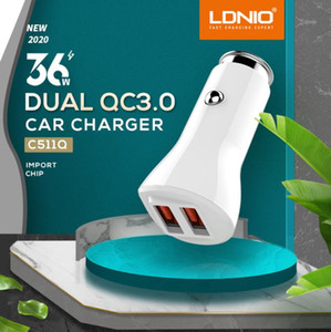 2020 LDNIO C511Q 36W qc3. 0 dual usb car charger DL-C29 3.4 A зарядное устройство для iphone Samsung HTC LG Xiaomi с кабелем