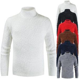 Роскошные Мужские Сплошной Цвет Свитер Мода Тонкий Нижняя Рубашка Зима Дизайнер Пуловер Свитер