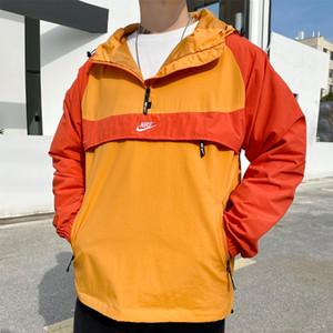 Primavera Nueva chaqueta de calidad ligero hombres cortavientos e impermeable chaqueta impermeable de Shell mujeres de color con capucha / cremallera frontal Jacke 53865