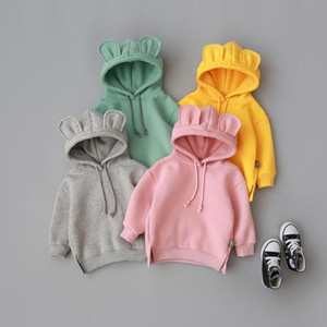 3D Ear Sweatshirts Kids Hoodies Designer Solid Jackets Casual Long Sleeve Hooded Coat Fleece Fashion Hip Hop Outwear Jumper Pullover C6493