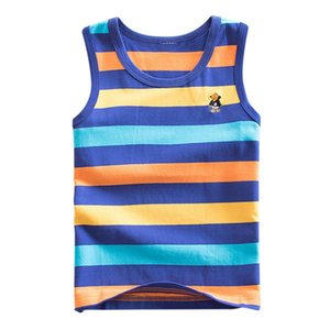4 Style Striped Girls Boys Vest Sleeveless Tanks Tops For Girl Combed Cotton Kids Vest Camisoles Shirt Underwear