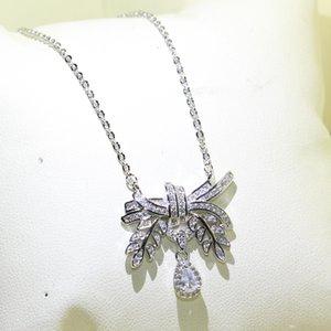 NBABuyer Infinity choucong unico Spumante Victoria gioielleria collana catena Argento 925 5A Zirconia goccia d'acqua Ciondolo fiocco Eternity