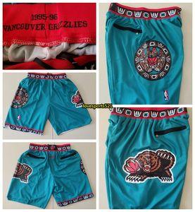 Just Don Männer Memphis Grizzliesnba 1995-96 Shorts Jr Morant Bibby Authentische Genäht Retro Hosen Klassische Gym bestickte Shorts 414