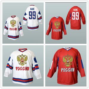 Costume camisa da equipe nacional da Rússia Hockey Jerseys costurado Ovechkin Tarasenko Malkin Panarin Kuznetsov Vermelho Branco Tanto Nome Your Number