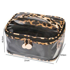 3pc set fashion women zipper Leopard Print Cosmetic Bag Three Piece Pvc Transparent Bag Multi-Function Waterproof Large Capacity Storage Bag