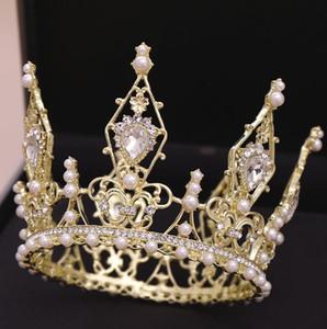 Freie Weinlese-Perlen Big TiarasCrown Luxuxkristallglas wulstige Braut Kopfschmuck 2019 Günstige Hochzeit Kopfschmuck