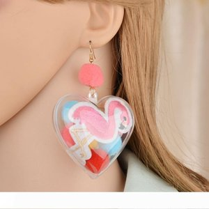 Retro Exaggerated Personality Color Hair Ball Embroidered Firebird Transparent Love Peach Heart Earrings E1511