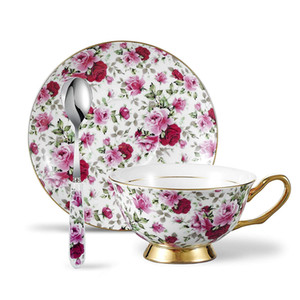 6.8oz 200ml Bone China Teacup and Saucer Set with Spoon - Pink and Red Floral Porcelain Afternoon Tea Cup