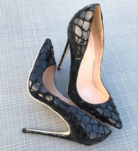 Envío gratis foto real luxura cuero genuino moda mujer dama negro punta impresa zapatos de tacones altos 12 cm 10 cm 8 cm