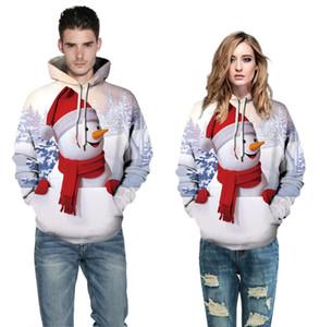 Arbre de Noël Sweats Hoodies 3D Femmes Hommes bonhomme de neige de Noël Manteau à capuche Jumper Survêtement Sweat-shirt Streetwear