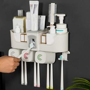 2/3 / 4Cups Manyetik Plastik Diş Fırçası Tutucu Depolama Raf Diş Macunu Dağıtıcısı Holder Raf