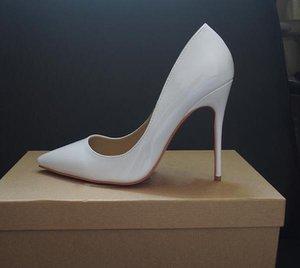 2019 HOT Femmes Chaussures Rouge Bas Hauts talons sexy bout pointu rouge Sole 8cm 10cm 12cm pompes viennent avec des sacs de poussière Logo chaussures de mariage