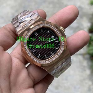2019 Mens Watch Diamond Bezel Brown quadrante dell'orologio posteriore trasparente DP fabbrica Movimento Nautilus PP meccanico automatico da polso in oro Maschio