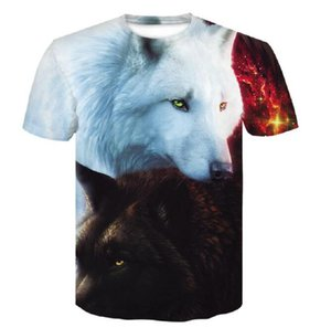 Fashion Men's Casual 3D Wolf Print Short Sleeve T-Shirt