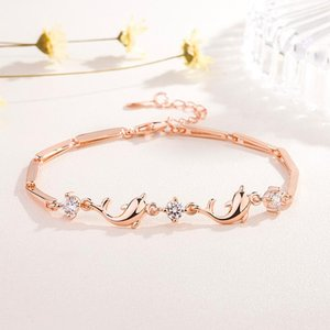 Popular 925 Silver Mosaic Zircon Dolphin Round Bracelet Trendy Fashion Charm Jewelry Accessories Amulet Gifts for Women Her