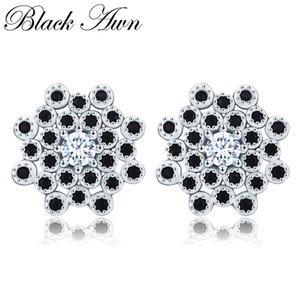 [BLACK AWN] 925 Sterling Silber Schmuck Ohrstecker für Frauen Snowflake Boucle d'oreille Brincos T203