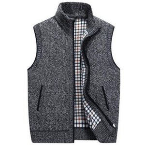 Lana PUIMENTIUAMens invierno suéter chalecos para hombre sin mangas de punto de la chaqueta del chaleco 2019 Nueva Caliente Fleece Tamaño Sweatercoat Plus