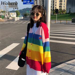 Woherb Spring 2019 Harajuku Rainbow Cardigan Mujeres Suéter flojo Abrigo Mujer Suéteres de gran tamaño Carta Bordado Jumper 20155 S19802