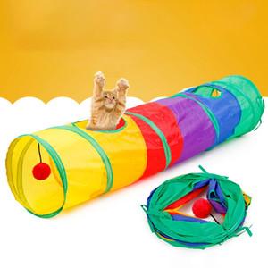 10 Color Divertido Pet Tunnel Cat Jugar Rainbow Tunnel Marrón Plegable 2 Agujeros Gato Gatito Juguete Juguetes A Granel Conejo Cueva
