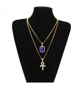 Égyptien Ankh clé de la vie bling strass Pendentif croix rouge avec Pendentif de rubis Collier Set Men Hip Hop Bijoux