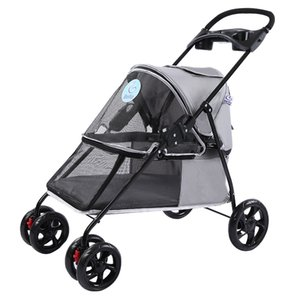 Four Wheel Small Pet Stroller Carrier for Little Dog and Cats Super Light and Breathable Oxford Pet Strollers Bearing 15KG