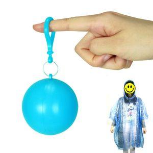 Wholesale Outdoor Portable Disposable Raincoat Plastic Ball Camping Fishing Travel Emergency Poncho Key Chain Rain Wear