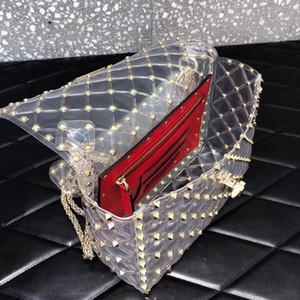 Bolso fishone de estilo nuevo y clásico de estilo europeo clásico de lujo. Cadena de oro, enrejado de diamante. Decorati. Bolsa de fiesta de PVC transparente.