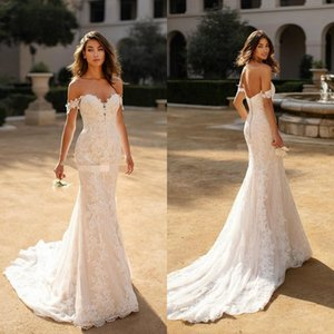 2020 Beach New Mermaid Wedding Dresses Off The Shoulder Lace Sexy Backless Nupcial Vestidos Sweep Train Plus Size Trumpet Vestido De Novia