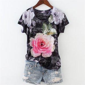 Moda Hot Drilling Rose doble impresión camiseta mujeres 2018 recién llegado de manga corta de seda de algodón fino M-4xl Y19042501