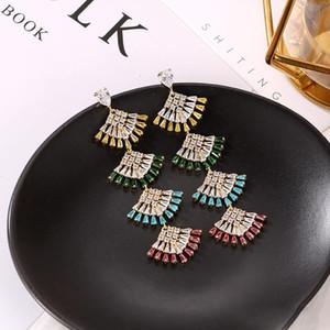 2020Brand Designer Mode Ginkgo biloba Ohrringe 925 Silber Lange Fan-Anhänger-Ohrring für Frauen Luxuxhochzeits-Kristallschmucksachen